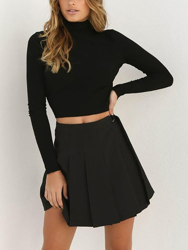 High Neck Backless Plain Sweaters