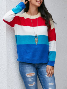 Colorful Striped Color Matching Sweater