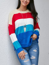 Load image into Gallery viewer, Colorful Striped Color Matching Sweater