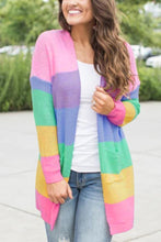 Load image into Gallery viewer, Band Collar  Color Block Striped Cardigans