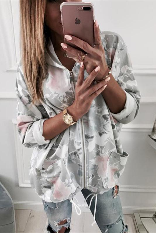 Printed Long-Sleeved Hooded Sweater Jacket