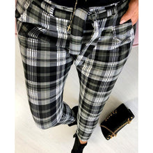 Load image into Gallery viewer, Plaid Printed Slim Pencil Pants