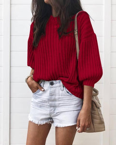 Autumn And Winter Fashion Pure Color Pit Strip Knitted T-Shirts