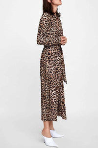 Turn Down Collar  Single Breasted  Belt  Leopard  Long Sleeve Maxi Dresses