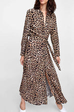 Load image into Gallery viewer, Turn Down Collar  Single Breasted  Belt  Leopard  Long Sleeve Maxi Dresses