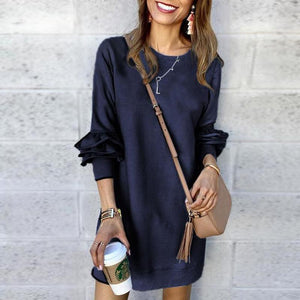 Solid Color Long Sleeve Casual Dress