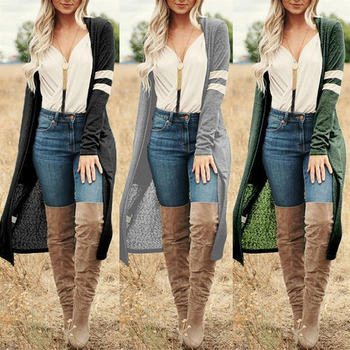 Casual Color Block Long Sleeve Maxi Cardigans