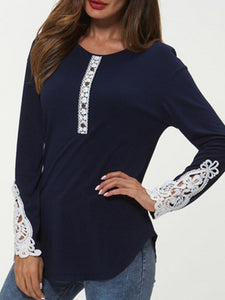 Autumn Winter  Women  Round Neck  Decorative Lace  Decorative Button  Plain Long Sleeve T-Shirts