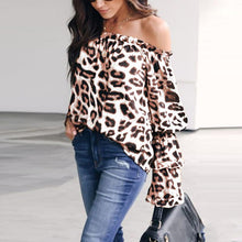 Load image into Gallery viewer, Leopard Printed Off Shoulder Flare Long Sleeve Sexy Blouses
