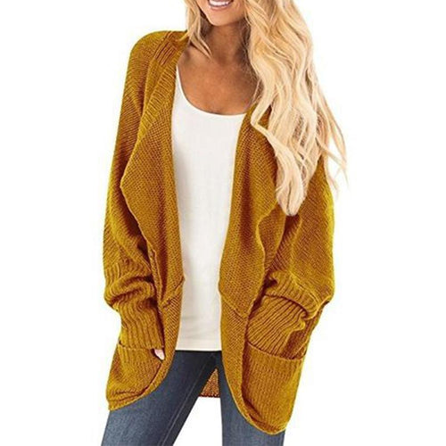 Fashion Plain Asymmetrical Hem Pocket Long Sleeve Cardigans