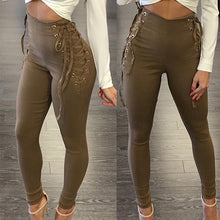 Load image into Gallery viewer, Lace Up Fitting Slim High Waist Casual Pants