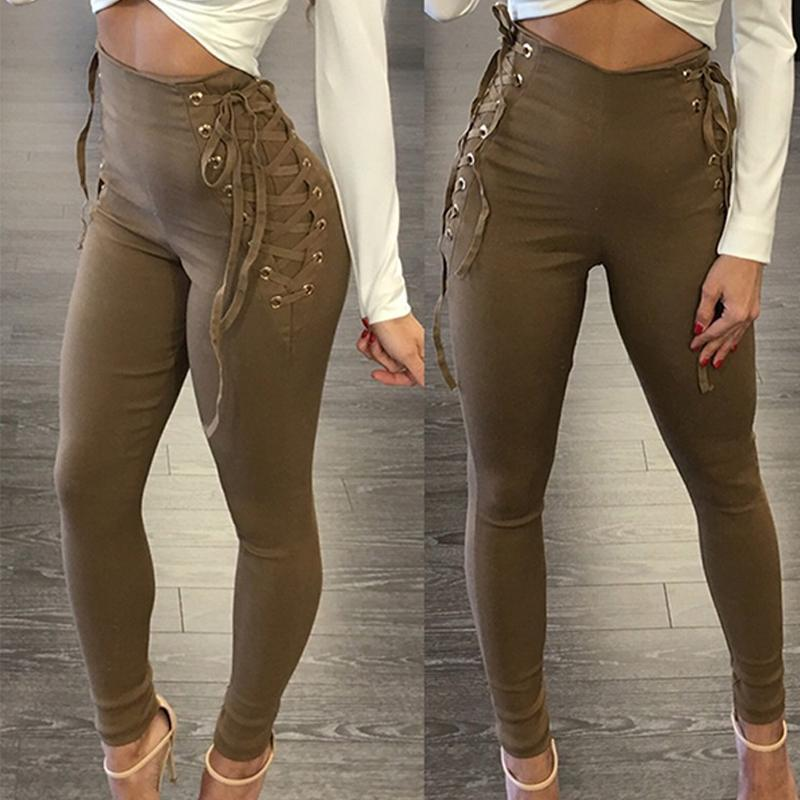 Lace Up Fitting Slim High Waist Casual Pants
