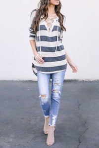 Deep V Neck  Lace Up  Striped T-Shirts