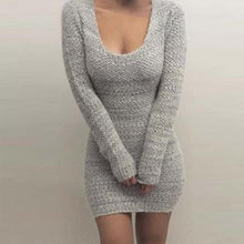 Load image into Gallery viewer, Sexy Round Neck Long Sleeve Plain Knitting Bodycon Dress
