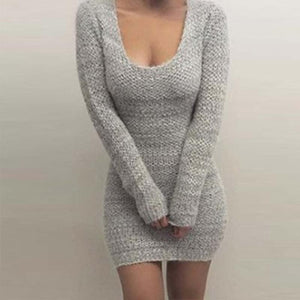 Sexy Round Neck Long Sleeve Plain Knitting Bodycon Dress