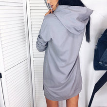 Load image into Gallery viewer, Hooded Plain Long Sleeve Casual Dress