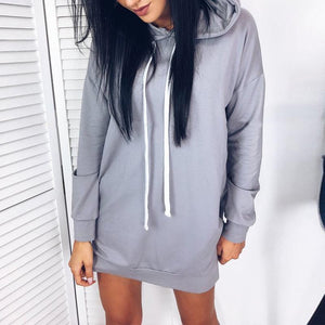 Hooded Plain Long Sleeve Casual Dress