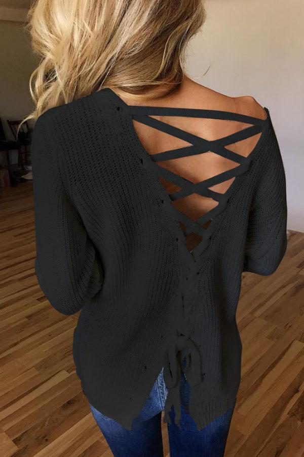 Round Neck  Backless Cross Straps  Plain T-Shirts