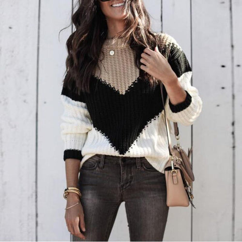 Round Neck Long Sleeve Color Block Knitting Casual Sweaters