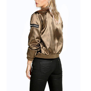 Fashion Zipper Long Sleeve Plain Bomber Jackets