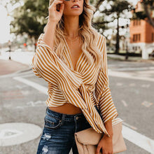 Load image into Gallery viewer, V Neck Lace Up Stripes Printed Flare Sleeve Fashion Blouses