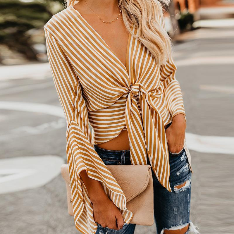 V Neck Lace Up Stripes Printed Flare Sleeve Fashion Blouses
