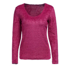 Load image into Gallery viewer, Round Neck Long Sleeve Knitting Plain Sweaters