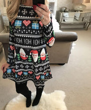 Load image into Gallery viewer, Christmas New Snowman Print Long Sleeve Dress
