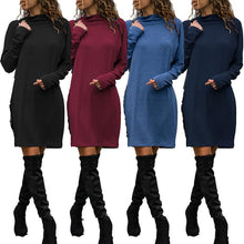 Load image into Gallery viewer, Turtle Neck Plain Long Sleeve Brief Casual Dress