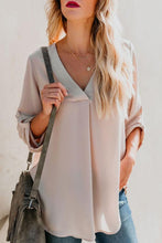 Load image into Gallery viewer, V Neck  Asymmetric Hem  Plain  Blouses