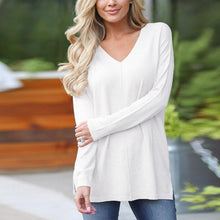 Load image into Gallery viewer, V Neck Long Sleeve Plain Casual T-Shirts