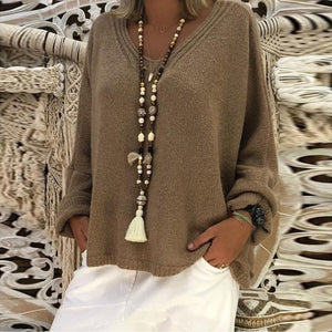 V Neck Long Sleeve Plain Casual Knitting Sweaters