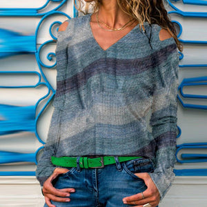 V-Neck With Leaky Shoulders Abstract Printed Long-Sleeve Knit Top