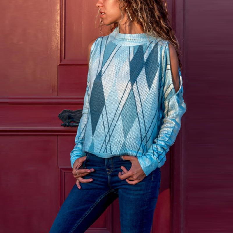 Round Neck Long Sleeve Hollow Out Geometrical Printed T-Shirts