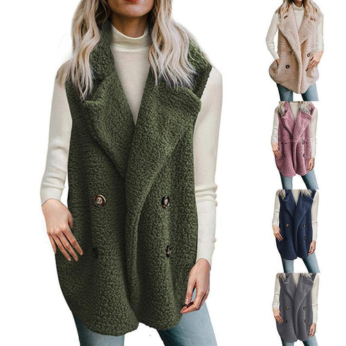 Lapel Plain Sleeveless Button Pocket Fashion Polar Fleece Vests