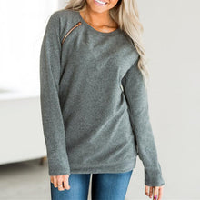 Load image into Gallery viewer, Round Neck Zipper Long Sleeve Plain Casual Sweatshirts