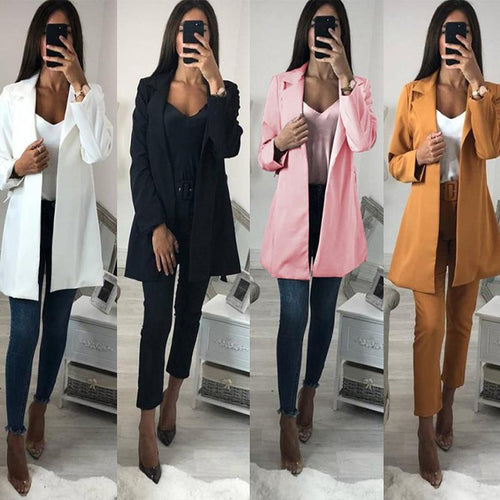 Fashion Belt Lapel Plain Long Sleeve Blazers