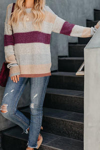 Round Neck  Patchwork Striped Sweaters