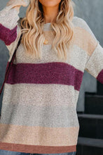 Load image into Gallery viewer, Round Neck  Patchwork Striped Sweaters