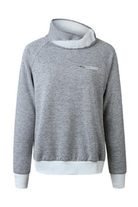 Asymmetric  Neck  Plain  Sweatshirts