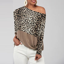Load image into Gallery viewer, Oblique Collar Leopard Printed Patchwork Batwing Sleeve T-Shirts