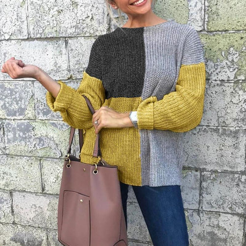Round Neck Color Block Long Sleeve Fashion Knitting Sweaters