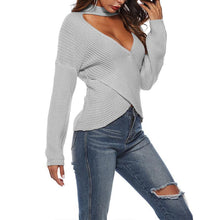 Load image into Gallery viewer, Sexy V Neck Hollow Out Long Sleeve Plain Knitting Sweaters