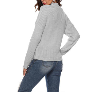 Sexy V Neck Hollow Out Long Sleeve Plain Knitting Sweaters