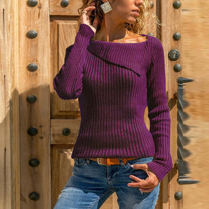 Asymmetrical Collar Long Sleeve Plain Knitting Sweaters