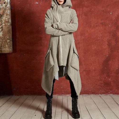 Hooded Long Sleeve Plain Zipper Asymmetrical Hem Fashion Jackets