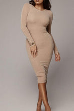 Load image into Gallery viewer, Round Neck  Plain  Long Sleeve Bodycon Dresses