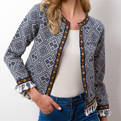 Fashion Ethnic Style Stitching Tassel Jacket