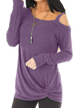 Load image into Gallery viewer, Open Shoulder  Patchwork  Plain Long Sleeve T-Shirts
