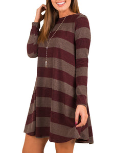 Round Neck  Striped Shift Dress